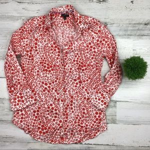 Talbots Floral Button Down Shirt White/Red Size 6